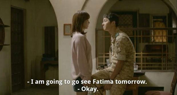 Scene from Descendants of the Sun - Yoo Shi Jin & Kang Mo Yeon
